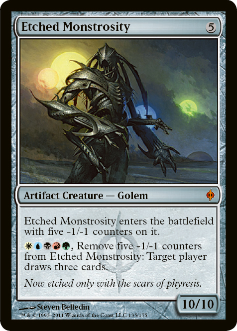 Etched Monstrosity - New Phyrexia Magic the Gathering Single   Wizards ... Planeswalker Art